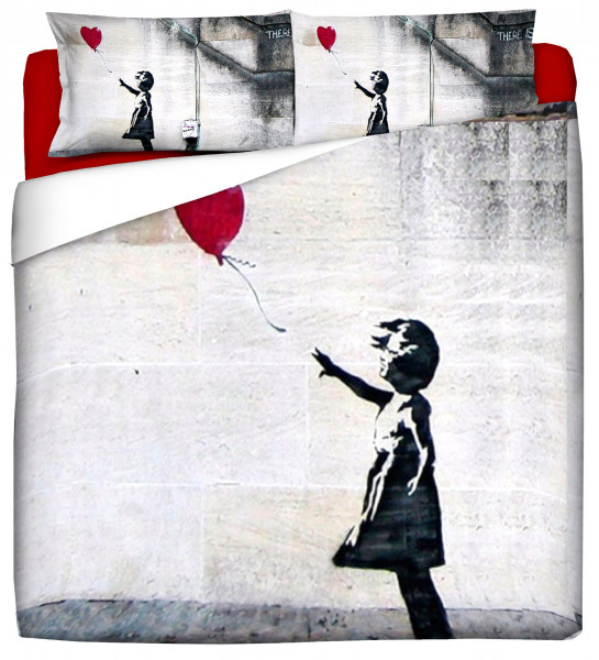 "Bettwäsche Spar-Set 40x80 / 135x200 BANKSY Street Art Motiv ""GIRL WITH BALLON"""