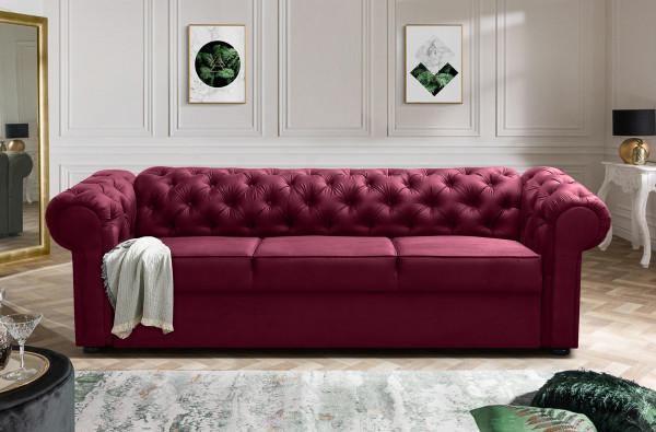 Chesterfield Couch Dreisitzer Bristol mit Bettfunktion und Bettkasten