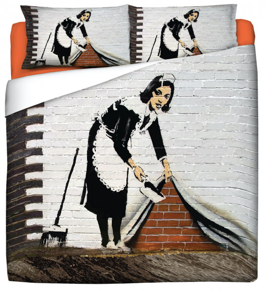 "Bettwäsche Spar-Set 40x80 / 135x200 BANKSY Street Art Motiv ""SWEEPING IT UNDER THE CARPET"""