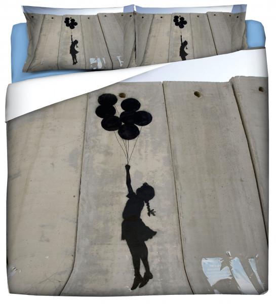 "Bettwäsche Spar-Set 40x80 / 135x200 BANKSY Street Art Motiv ""BALLOON GIRL - blue"""